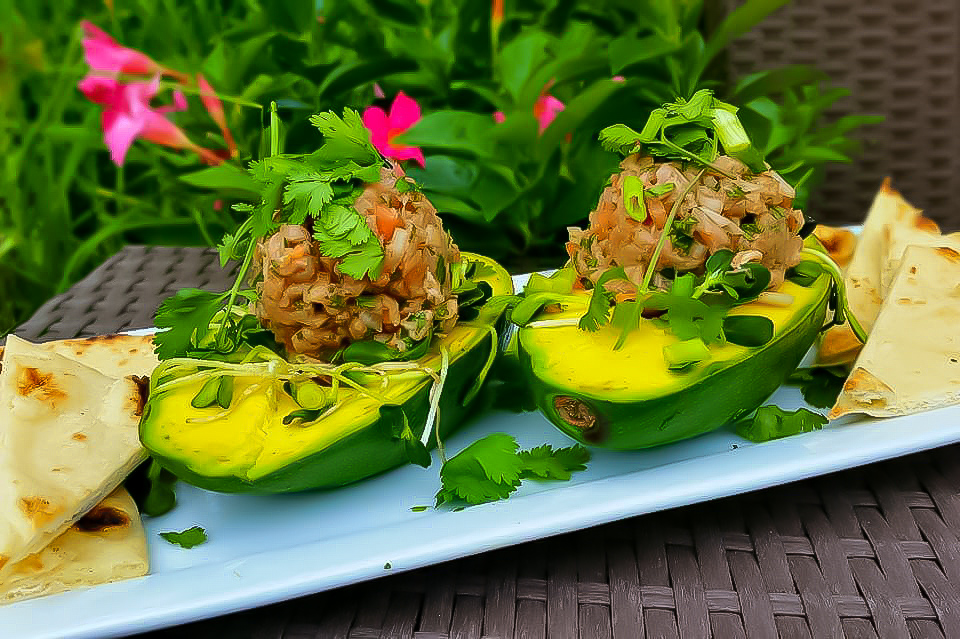 keto stuffed avocado with tuna tartare