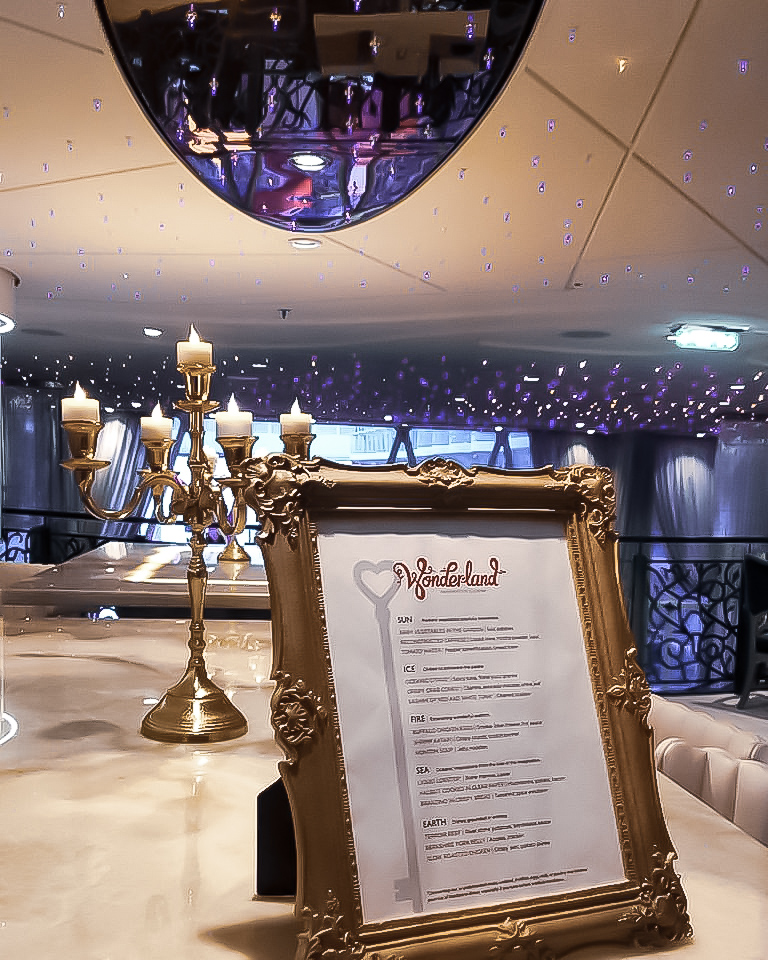 harmony of the seas, wonderland restaurant menu